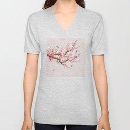 Pink Cherry Blossom Dream Unisex V-Neck