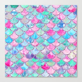 Colorful Pink and Blue Watercolor Trendy Glitter Mermaid Scales Canvas Print