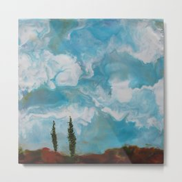 Cypress Trees encaustic wax painting by Seasons Kaz Sparks Metal Print
