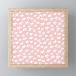 Stars on pink background Framed Mini Art Print