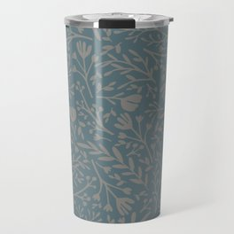 Scattered Flowers, Putty and Teal Blue Travel Mug