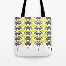 brown and lime art deco inspired fan pattern Tote Bag