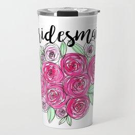 Bridesmaid Wedding Pink Roses Watercolor Travel Mug