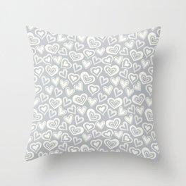 MESSY HEARTS: IVORY GRAY Throw Pillow