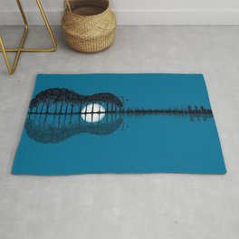 Trees sea and the moon turned guitar Rug