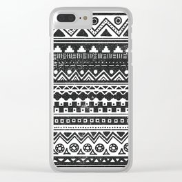 Aztec Inspired Pattern Black and White Clear iPhone Case