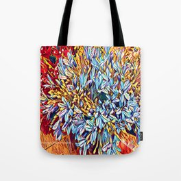 Blues Bouquet with Yellow and Red Tote Bag