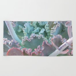 Succulent in the Sand Beach Towel