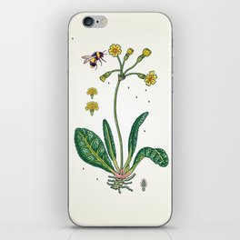 yellow cowslip and bee iPhone Skin