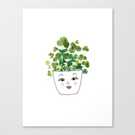 Shamrock Face Vase Canvas Print