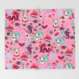 Lucky Cat Maneki Neko , Dragons and Koi fish On Pink Throw Blanket