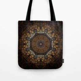 Rich Brown and Gold Textured Mandala Art Tote Bag