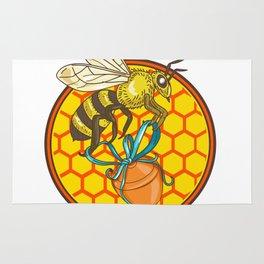 Bumblebee Carrying Honey Pot Beehive Circle Rug