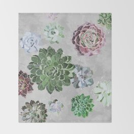 Simple succulents Throw Blanket