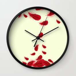 SURREAL FLOATING SCARLET RED FEATHERS Wall Clock