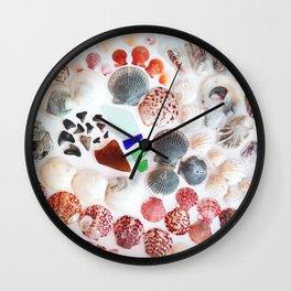 Shark Teeth and Sea Glass Wall Clock