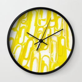 yellow paperclip Wall Clock