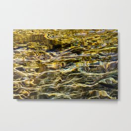 Prismatic Waves in Gold and Green Metal Print