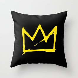 Basquiat crown Throw Pillow