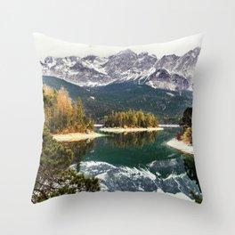 Green Blue Lake, Trees and Mountains Throw Pillow