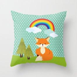 Fox, Rainbow , nursery decor , children gift, birthday gift Throw Pillow