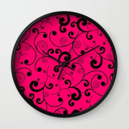 Hot Pink and Black Scroll Pattern Wall Clock