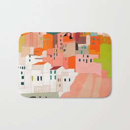 italy coast houses minimal abstract painting Bath Mat