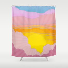 Sixties Inspired Psychedelic Sunrise Surprise Shower Curtain