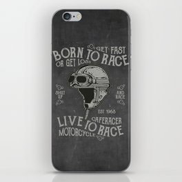 Born to Race Motorcycle Vintage Chalkboard Poster iPhone Skin