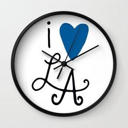 i heart LA ~ Blue! Wall Clock