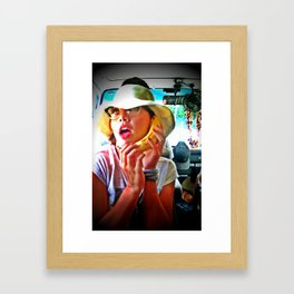 Hawaii girl, banana phone Framed Art Print