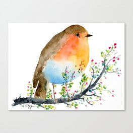 Watercolor Robin on Berry Branch Canvas Print