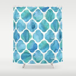 Watercolour Blue Moroccan Tile Print Shower Curtain