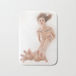 3524-KLM Bare Feet Up Toes Spread Foot Woman on White Bath Mat