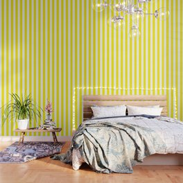 Canary yellow - solid color - white vertical lines pattern Wallpaper
