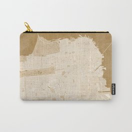 San Francisco Penninsula vintage map in sepia Carry-All Pouch