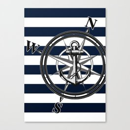 Navy Striped Nautica Canvas Print