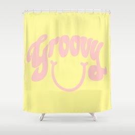 Groovy Smile // Fun Retro 70s Hippie Vibes Lemonade Yellow Grapefruit Pink Lettering Typography Art Shower Curtain