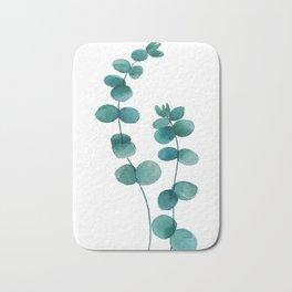 green eucalyptus watercolor Bath Mat