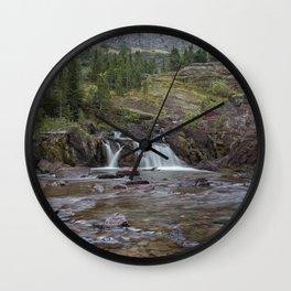Redrock Falls - Glacier National Park Wall Clock