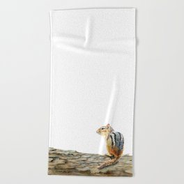Little Chip - a painting of a Chipmunk by Teresa Thompson Beach Towel