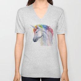 Rainbow Unicorn Watercolor Animal Magical Whimsical Animals Unisex V-Neck