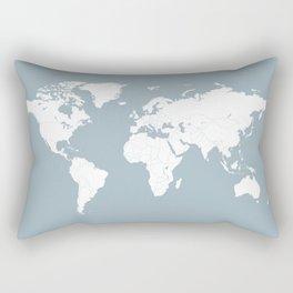 Minimalist World Map in Slate Blue Rectangular Pillow