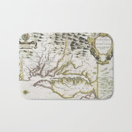 Vintage Map of Virginia and Maryland (1796) Bath Mat