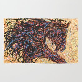 Abstract Horse Digital Ink Pollock Style Rug