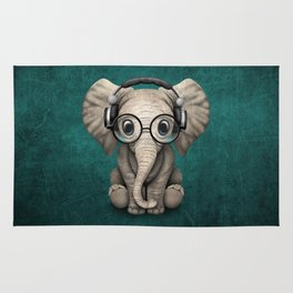 Cute Baby Elephant Dj Wearing Headphones and Glasses on Blue Rug