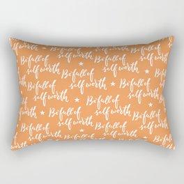 Be Full of Self Worth - Hand Lettering Design Rectangular Pillow