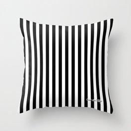 Halloween Stripes Black and White Throw Pillow
