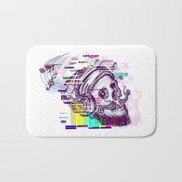 Human skull glitch Bath Mat