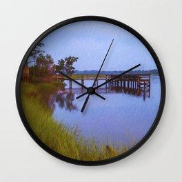 Fishing Pier at Sunset Wall Clock